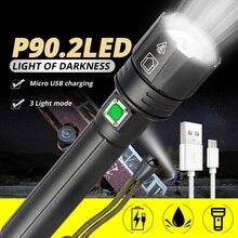 Новейший мощный Xlamp XHP90.2 светодиодный фонарь с зумом XHP70 USB Перезаряжаемый водонепроницаемый фонарь 18650 26650 для кемпинга