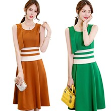 Women Fashion Casual Summer Office Lady Style O-Neck Color Block Pattern Knee-Length Sleeveless Patchwork Print Tank Dress