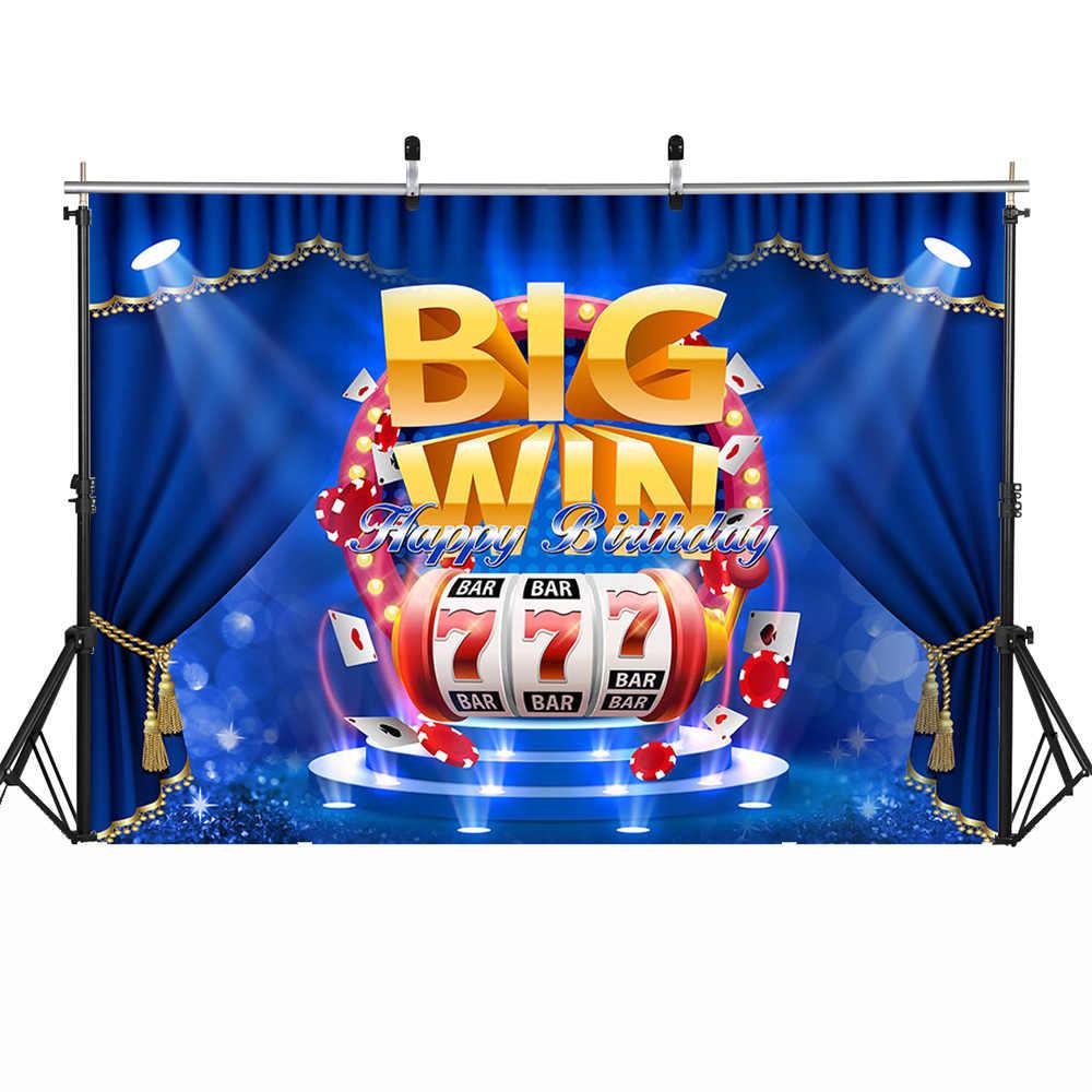 Big Win Bar tematyczne wszystkiego najlepszego z okazji urodzin tło Photocall niebieska zasłona etap mężczyźni tło urodzinowe Casino 777 Card Photoshoot