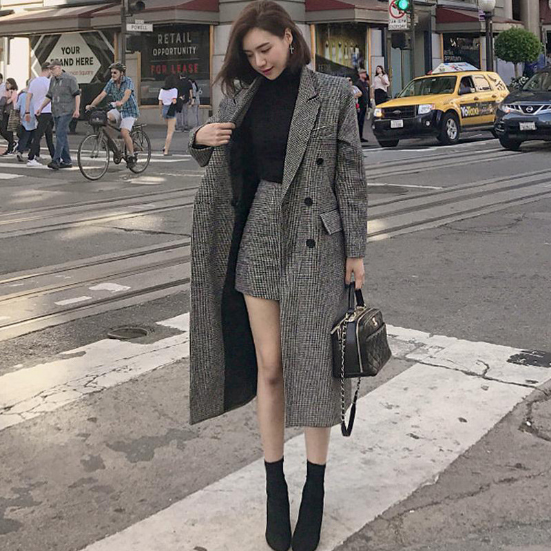 Plus Size High Street 2 Piece Set For Women Double Breasted Vintage Long Tweed Blazer Coat+Mini Pencil Skirt Autumn Blazer Suit