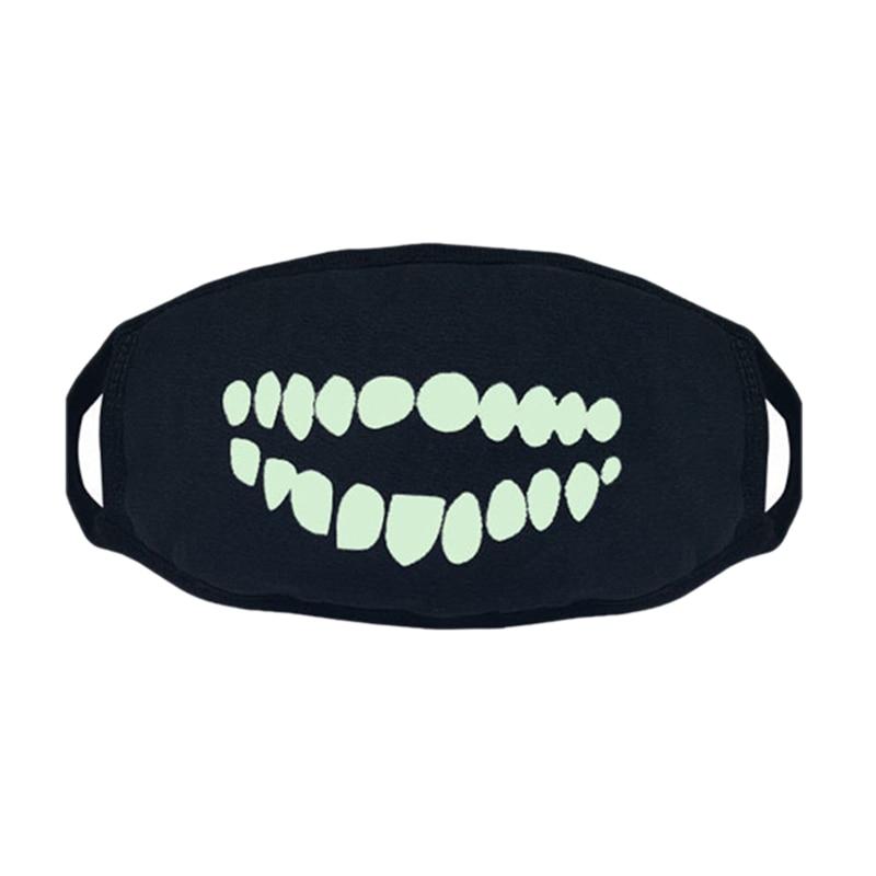 3Pcs Black Luminous Mask Green Light Party Mask Cotton Dust Mask Night Riding Mask Halloween Funny Decoration