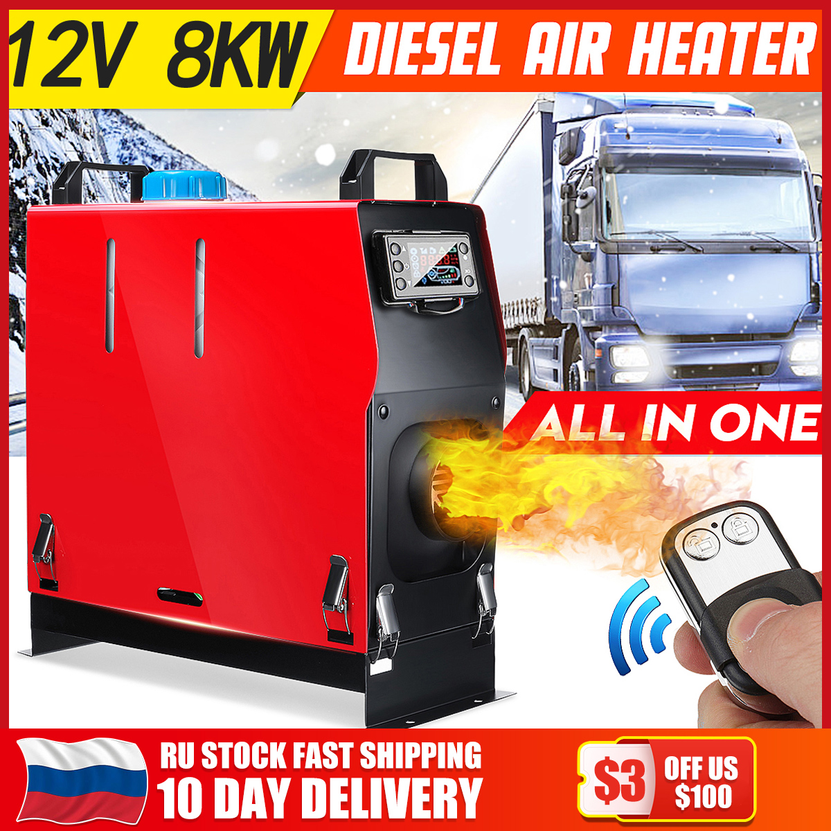 All In One Air diesels Heater 1KW-8KW Adjustable 12V One Hole Car Heater For Trucks Motor-Homes Boats Bus +LCD key Switch+Remote(China)