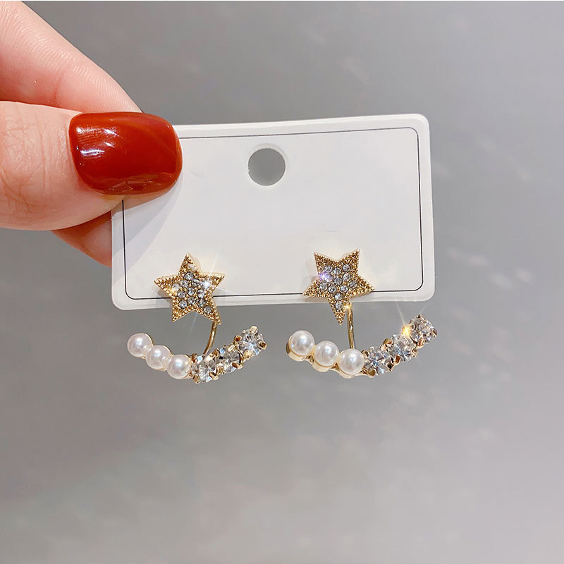 Hot Sale Korea New Fashion Personality Temperament Pearl Star Stud Earrings For Women Girls Birthday Party Gifts 2S568