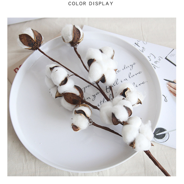 Naturally Dried Cotton Flowers Artificial Plants Floral Branch for Wedding Party Decoration Fake Flowers Home Artificial Decor 6