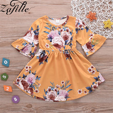ZAFILLE Baby Girl Dress Long Flare Sleeve Girls Clothes Floral Printed Baby Toddler Dresses Kids Infant Clothes Girls Clothing 2019 floral festival baby girls long sleeve dress winter warmer girl down jacket dresses children cheongsam outwear blouses