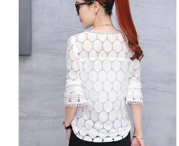2019 autumn plus size lace flare sleeve women chiffon blouse shirt casual solid hollow women clothing top femlae blusas 905E 30 4