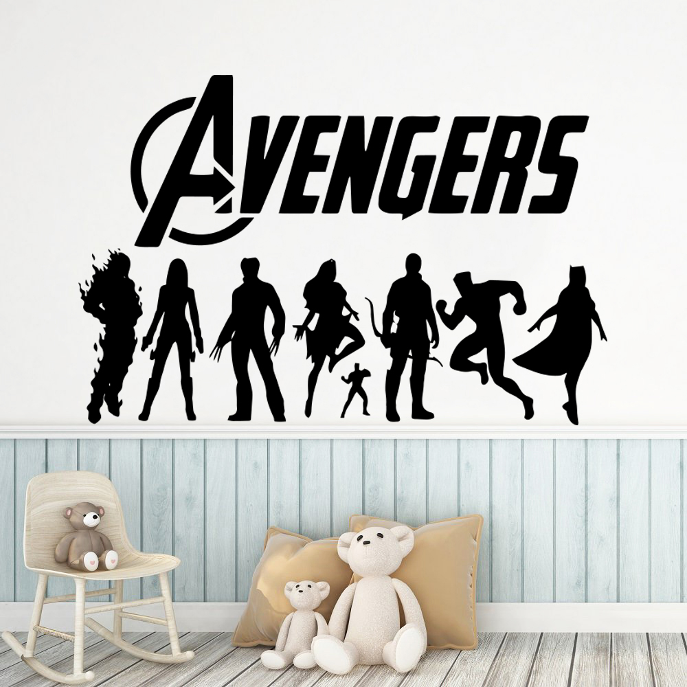 Colorful the avengers Vinyl Wall Stickers Removable Decals For Children Room Sticker Wallpaper Decal vinilos pared
