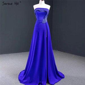 Image 1 - Royal Blue Srtapless Sexy A lijn Avondjurken 2020 High End Satijnen Kralen Mouwloze Formele Jurk Serene Hill HM67087