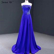 فساتين سهرة جذابة على شكل حرف a بلون أزرق ملكي 2020 فستان رسمي فاخر مطرز بدون أكمام من الساتان طراز Serene Hill HM67087