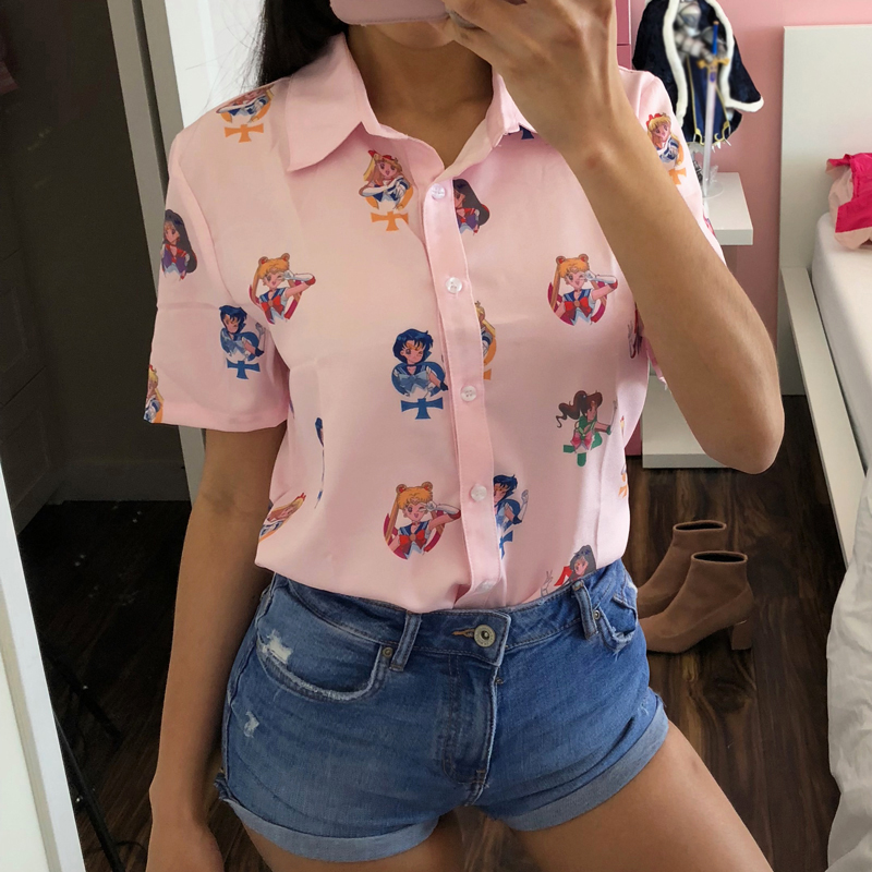 Gaganight 2019 Summer Cute Sailor Moon   Blouse   Women Short Sleeve Harajuku Anime Cosplay   Shirt   Turn-down Collar Top