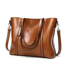 Women Casual Bag Oil wax Women's Leather Handbags Luxury Lady Hand