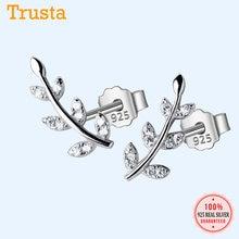 Trusta 100% Plata de Ley 925-pendientes de tuerca de 14mm x 6mm con circonita cúbica, joyería pequeña, regalo para la escuela, niña e hija, DS725