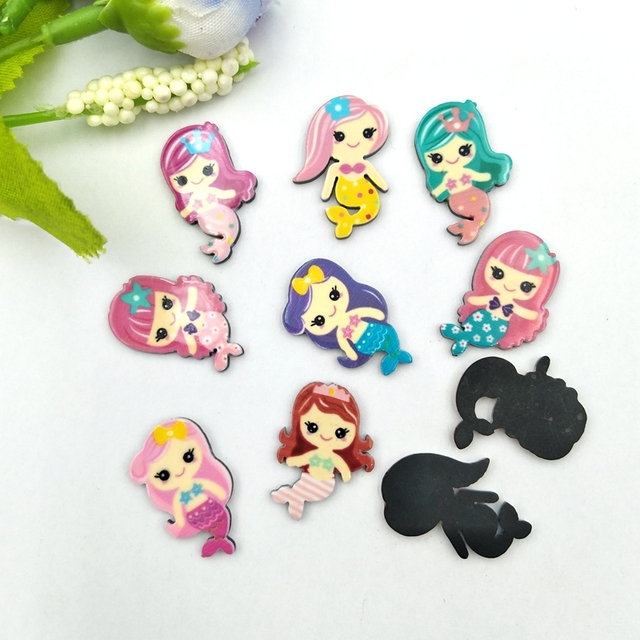 20pcs Lovely Colorful mix Various Mermaid For Home Wedding Decor Crafts Making Scrapbooking DIY Hair Bow Center 2
