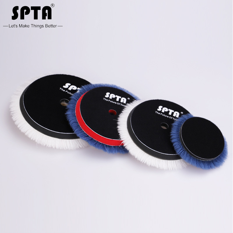 SPTA Wholesale 3inch/ 5inch Lambs Woollen Polishing Buffing Pad Polisher Pads For Car Polisher Detailing Waxing Polishing Buffer