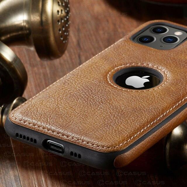 Pour iphone 11 11 Pro 11 Pro Max étui de luxe en cuir d'affaires couture housse pour iphone XS Max XR X 8 7 6 6S Plus étui 3