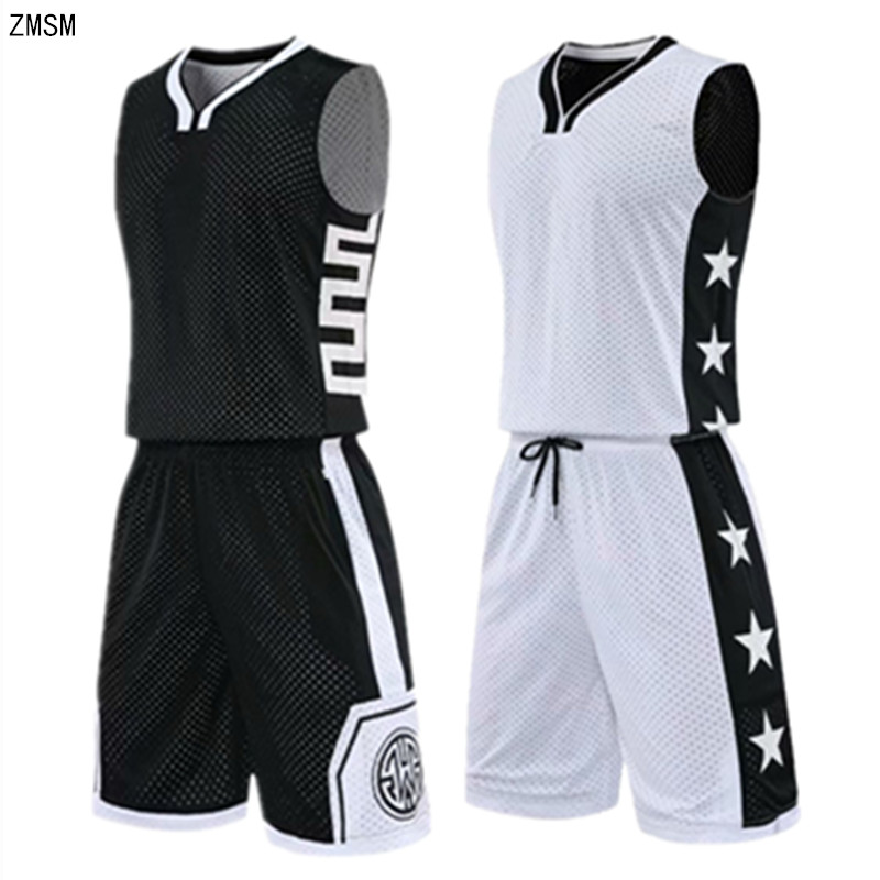 High-end Reversed Basketball Jersey Set Men Printed Sports Suit  Both Sides Wear Training Shirt Shorts Basketball Uniform Custom