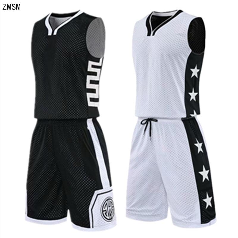 High-end Reversed Basketball Jersey Set Men Printed Sports Suit  Both Sides Wear Training Shirt Shorts Basketball Uniform Custom