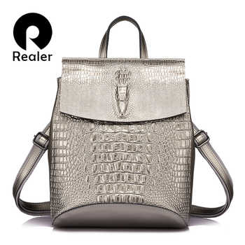 REALER fashion women backpack high quality split leather crossbody shoulder bag female crocodile print large multifunctional bag - DISCOUNT ITEM  55% OFF All Category