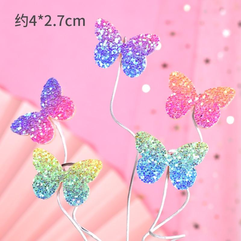 蝴蝶铁丝插牌5件套-粉蓝紫