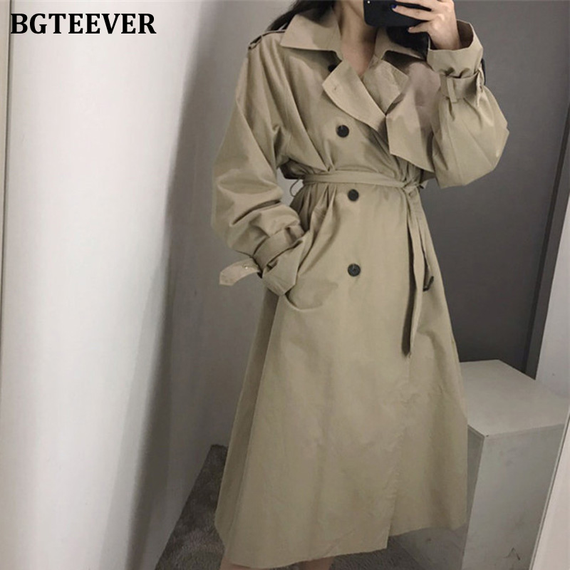 BGTEEVER Office Ladies Double Breasted Trench Coats Women Fashion Belted Long Loose Female Korean Windbreaker Overcoats