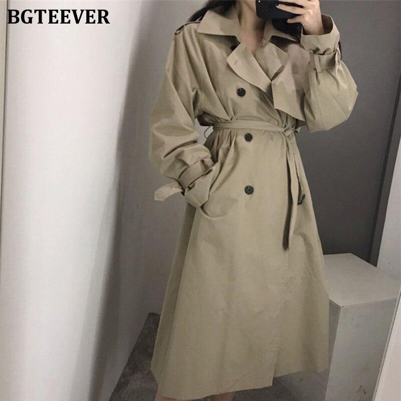 BGTEEVER женские двубортные тренчи для офиса, женские модные длинные свободные пальто с поясом, Корейская ветровка|Тренч| | - AliExpress