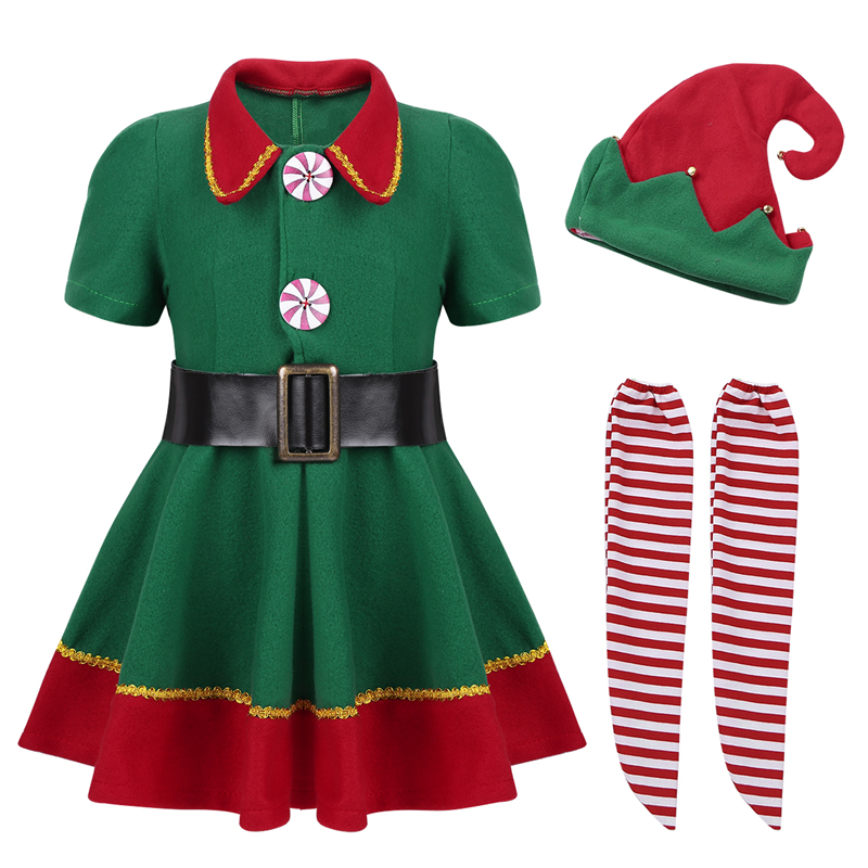 New Girls Father Christmas Santa Kids Fancy Dress Costume Outfit with Hat Party
