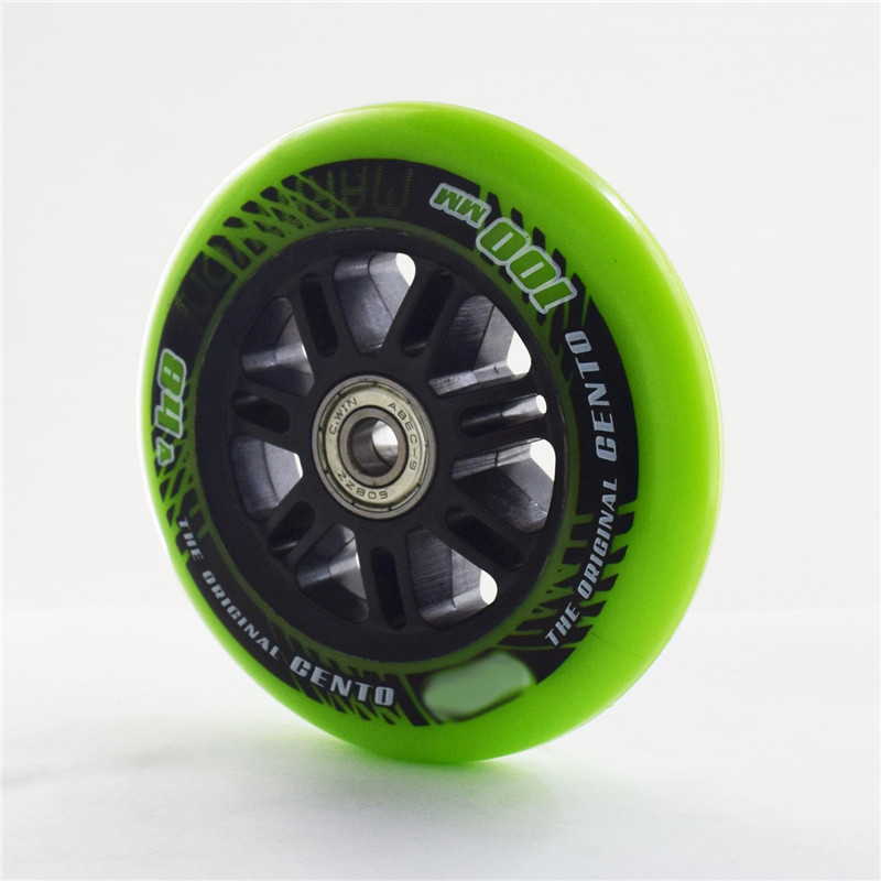 [100mm] 2 Pieces 84A Inline Speed Skates Wheel With ABEC-9 608zz Skating Bearing Durable PU For Indoor Track Race 100 3/4 Wheels