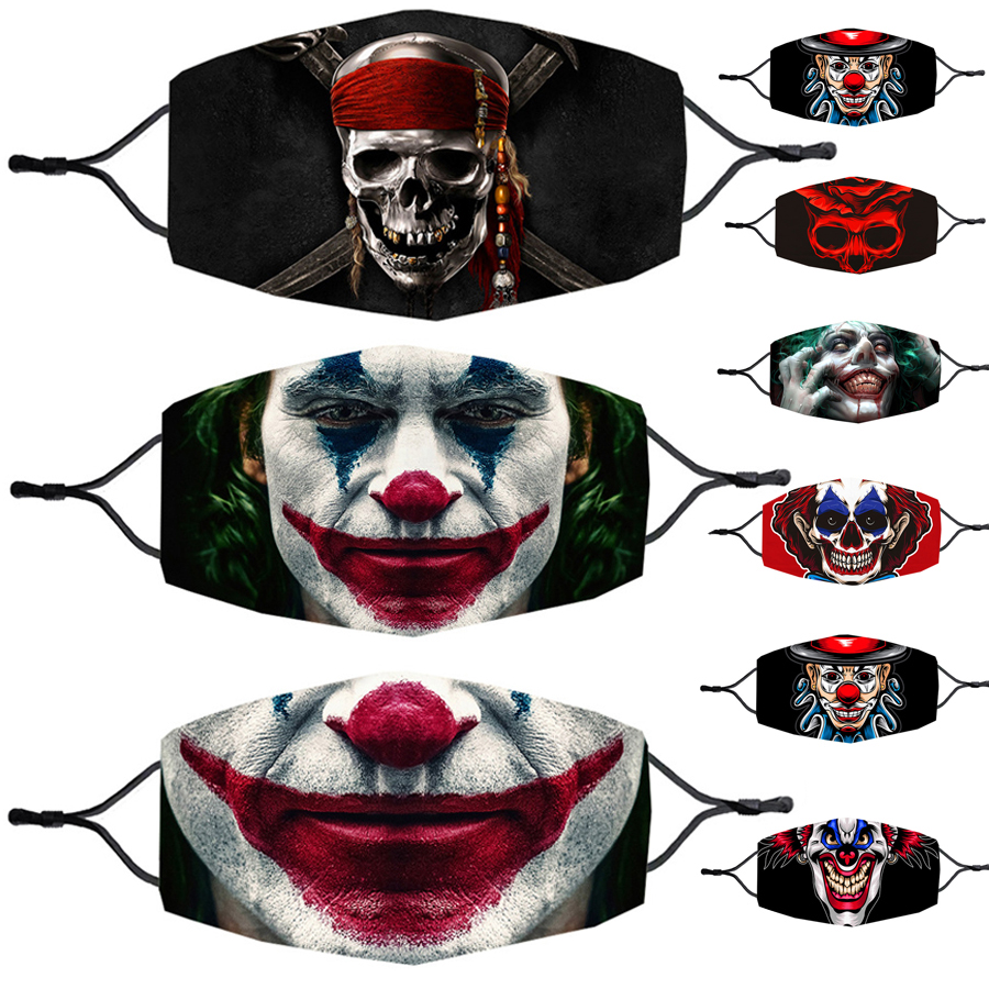 Halloween Scary For Adult Masks Cosplay Horror Clown Pirate Mask 3D Joker Caribbean Pirates Printing Grimace Skull Face Masks 1