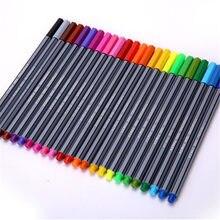 Caneta marcadora de fibra, caneta de ponta fina profissional para pintura, desenho de esboços, pintura artística, 24 pçs/set cores