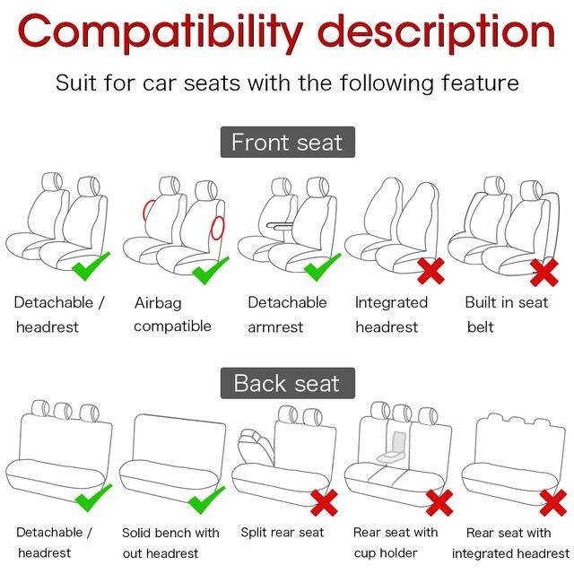 Pokrycie siedzenia samochodu Airbag kompatybilny wentylacji tkaniny ochrony poduszki Autos uniwersalne wyposażenie wnętrz pasuje do większości 5/7 miejsc samochodów