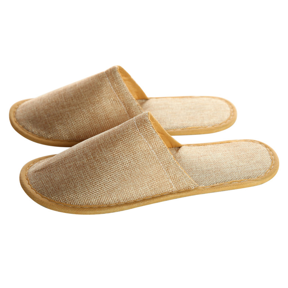 5 Pairs Adults Gift Comfortable Home Guest Soft Spa Slippers Linen Unisex Homestay Anti Slip Travel Hotel Casual Disposable