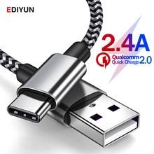 Usb tipo c cabo para samsung s10 s9 xiaomi huawei tipo-c 2.4a cabo tipo c cabo cabo de dados de carregamento rápido carregador