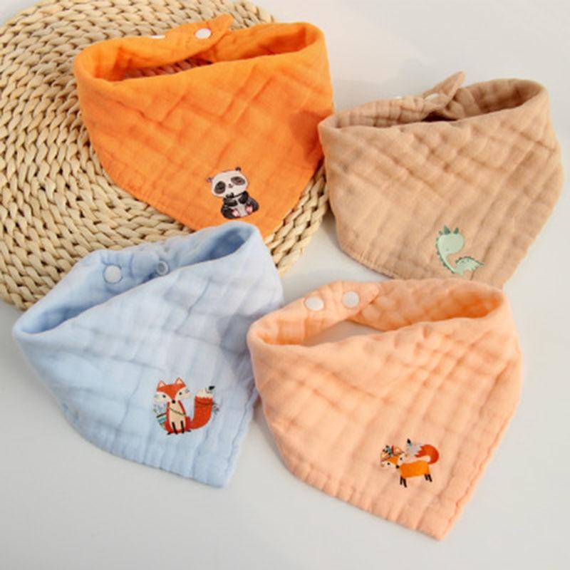 5pcs/lot Musiln Cotton Baby Bibs 6 Layers Girls Boys Babador Bandana Bibs Bebe Triangle Feeding Burp Cloth Bebe Collar Scarf