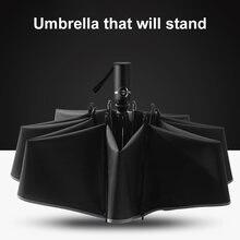 Автоматический Роскошный складной бизнес зонт с защитой от дождя