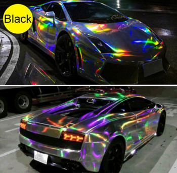 SUNICE 149*30cm Black Silver Holographic Laser Chrome Iridescent Car Wrap Film Car Vehicle Wrapping Sticker Decal Car Protector image