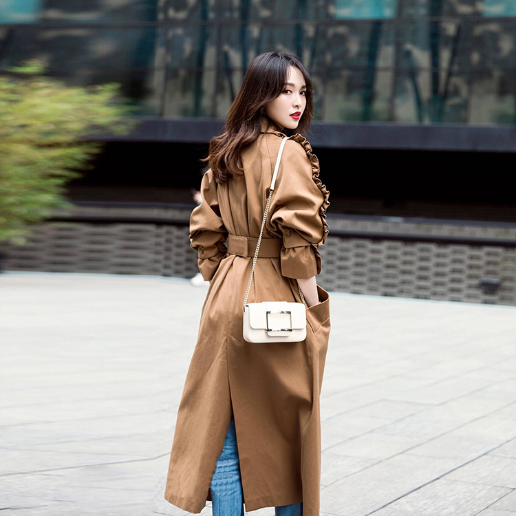 Khaki Trench Coat For Women Spring 2020 New Fashion Lace Decoration A Belt Temperament  Long Over The Knee