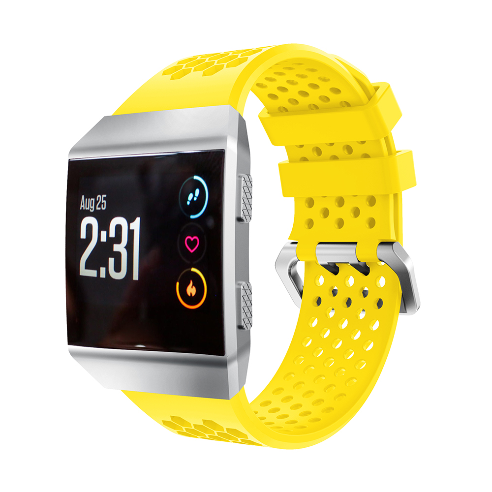 Yayuu Compatible For Fitbit Ionic Smart Watch Soft Silicone Wrist Strap Adjustable Watch Band Replacement Sport Breathable Strap