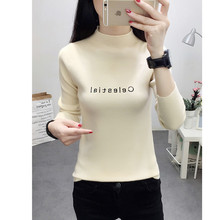 Women's Solid Color Long Sleeve Round Neck Knitted Sweater Jumper Letter Pattern Slim Casual Ladies Sweater Tops  C360