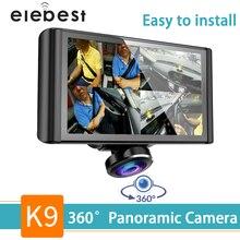 Dash cam 360 градусов Рыбий глаз объектив Автомобильный видеорегистратор Камера HD 1080 P видео рекордер 5 дюймов ЖК ips сенсорный экран циклическая запись легкая установка