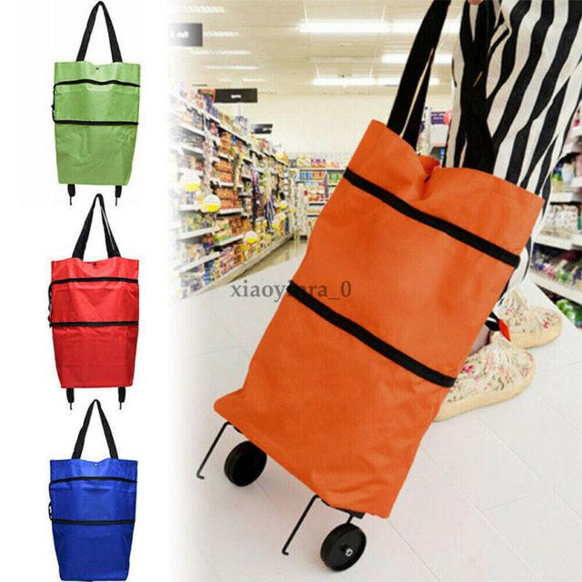 2020 Foldable Shopping Trolley Cart Foldable Reusable Eco Large Waterproof Bag Luggage Wheels Basket Non-Woven Market Bag Pouch 5