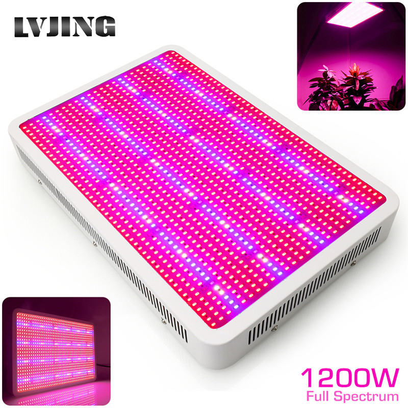 LVJING LED Grow Light 120/200/300/400/600/800/1000/1200/1600W Full Spectrum Panel Phyto Lamp For Plants Indoor Greenhouse Tent