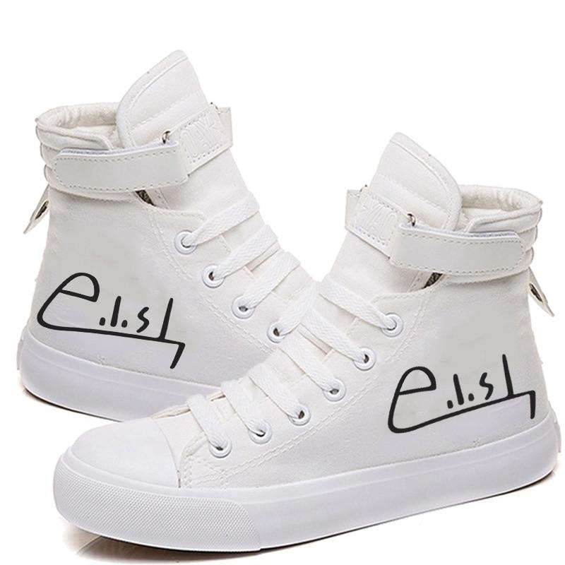 Hot Music Singer Star Billie Eilish Signature Women Hightop Casaul Sneakers Canvas Shoes