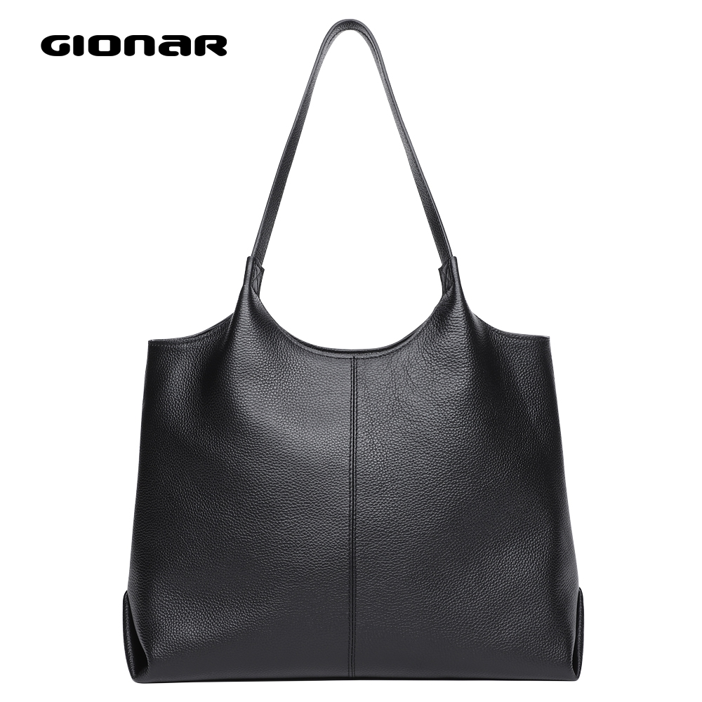 GIONAR Genuine Real Leather Bag For Women Black Handbag Tote Purse With Zipper Soft Top Layer Cowhide Top Handle Shoulder Bag