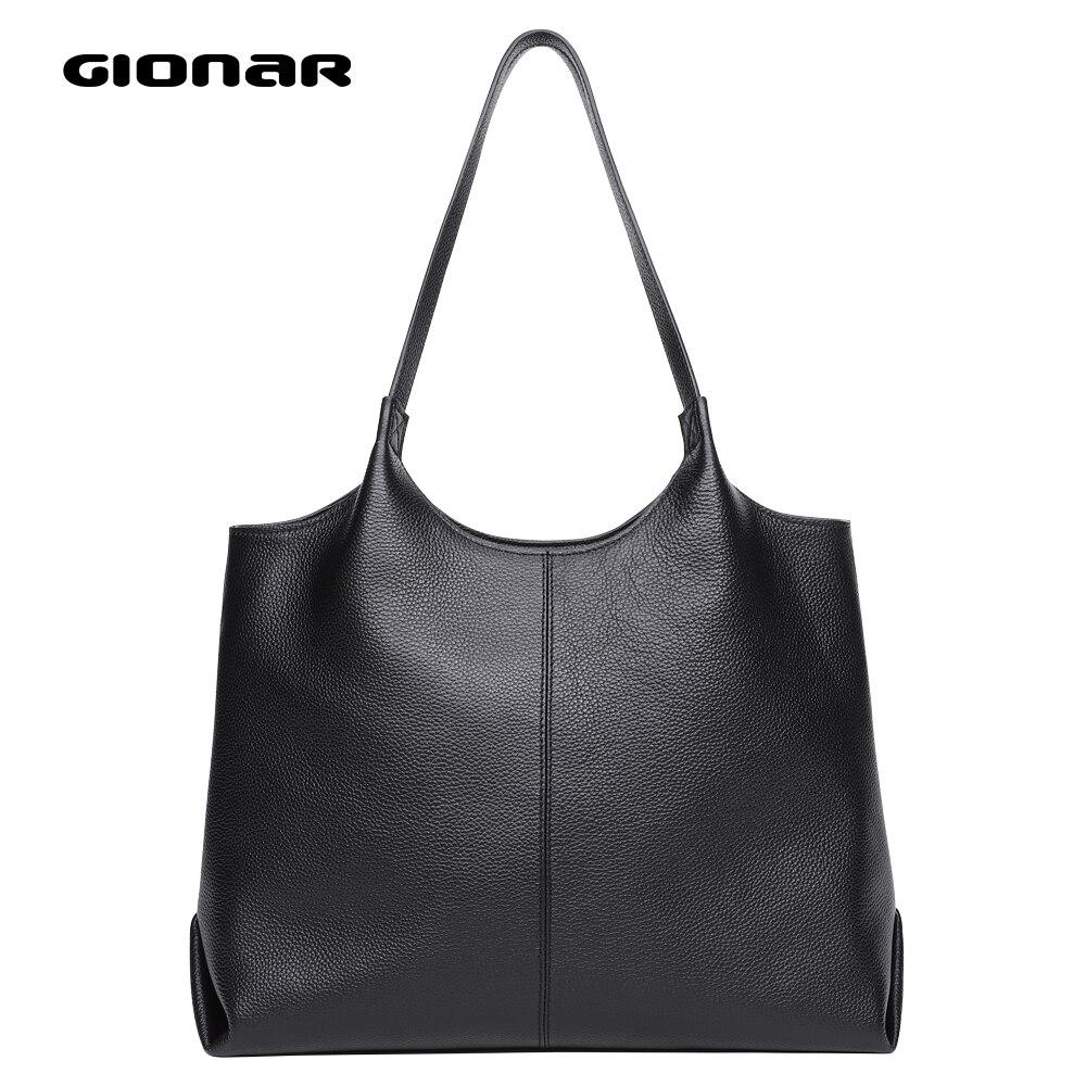 GIONAR Genuine Real Leather Bag For Women Black Handbag Tote Purse With Zipper Soft Top Layer Cowhide Top Handle Shoulder Bag