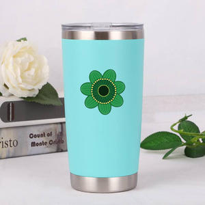 Double wall stainless steel mug cup water bottle car cup green flower print logo mug
