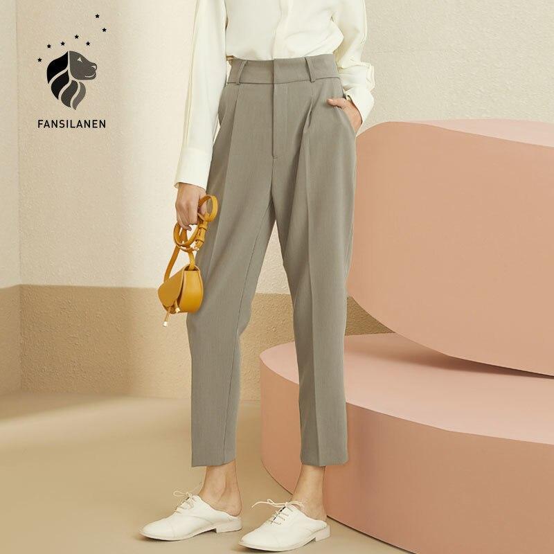 FANSILANEN office lady white casual pants capri Streetwear high waist women's trousers Elegant autumn winter harem pants bottom