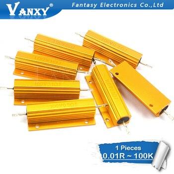 цена на 1PCS 100W Aluminum Power Metal Shell Case Wirewound Resistor 0.01 ~ 100K 0.1 0.5 1 2 4 6 8 10 20 100 150 200 300 500 1K 10K ohm