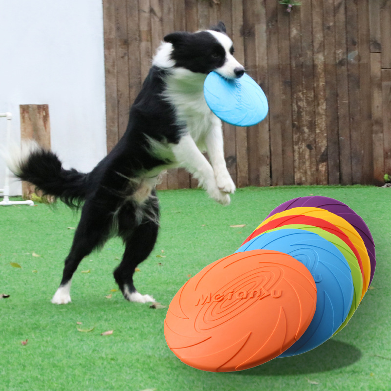 Dog Flying Discs Toy Eco Friendly Soft Rubber Floatable UFO Resistant Bite Chew Disk Puppy Interactive Training Pet Supplies