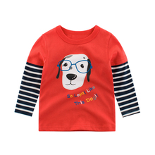 Kids T-Shirts Girls Tops Spring  Long Sleeve Autumn White Baby Boys Children Spring Clothing Cotton Cartoon Print Dog Cat Tees