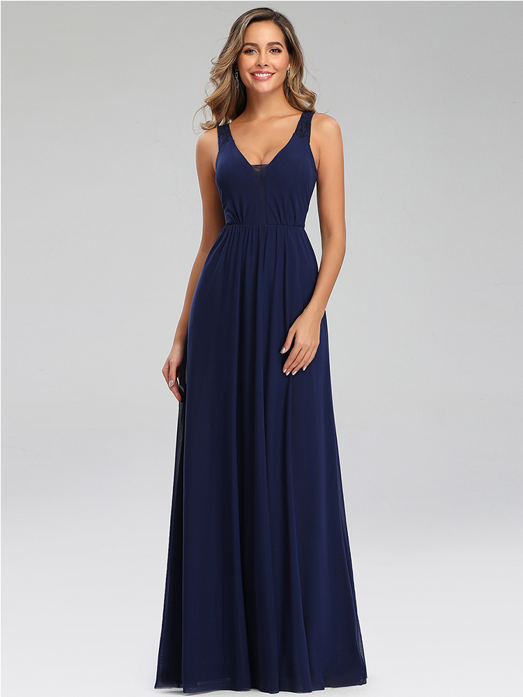 Party-Gowns Draped Evening-Dresses Lace Navy-Blue Formal Elegant Ever Pretty Abendkleider
